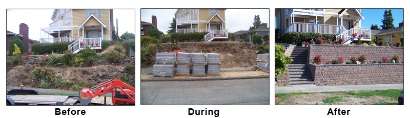 Retaining Wall - Before, During and After